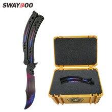 Swayboo CS GO Karambit folding Knife set case butterfly in knife box doppler tra