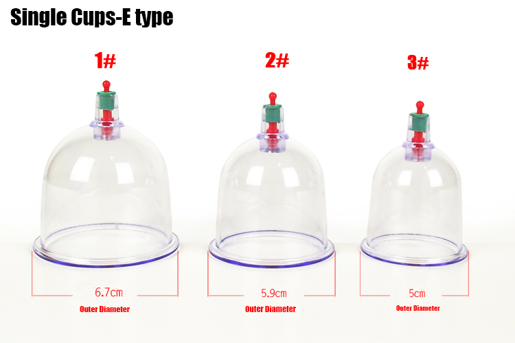 7cm/6cm/5cm original Chinese medical vacuum cupping apparatus body massager relaxtion health care therapy single cups 12pcs