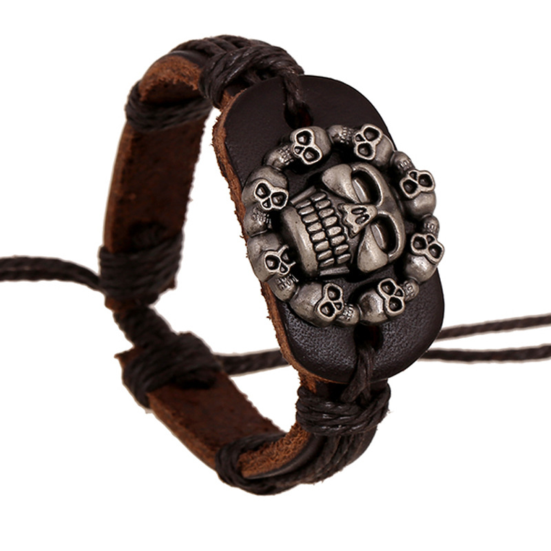 Fashion 2016 Leather Alloy Buckles font b Bracelets b font Handmade Leather Skull Bangles Punk Braided