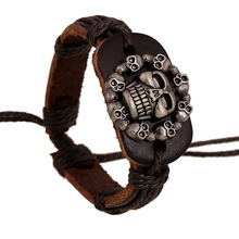 Fashion 2016 Leather Alloy Buckles Bracelets Handmade Leather Skull Bangles Punk Braided Wooden Beads Bracelet Unisex Jewelry