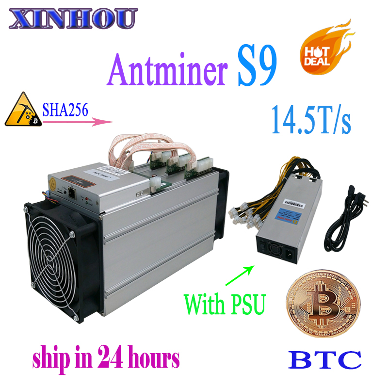 New AntMiner S9 14.5T With 1800W PSU Asic Bitcoin Miner SHA-256 BTC BITMAIN Miner Better Than Antminer S9 S9i T9 whatsminer m3