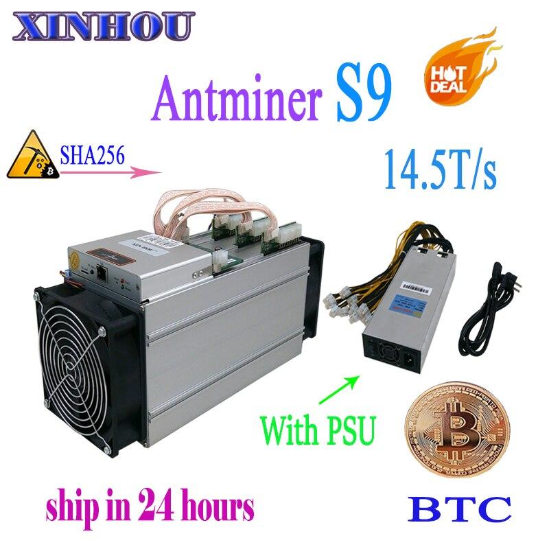 Nuevo AntMiner S9 14,5 T con 1800 W PSU Asic minero Bitcoin SHA-256 BTC BITMAIN minero mejor que Antminer S9 s9i T9 whatsminer m3
