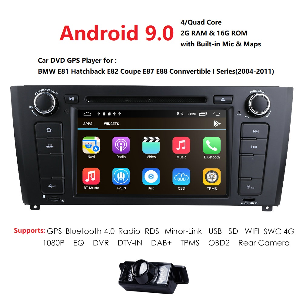 1 Din Android 9.0 GPS Do Carro DVD Player Para BMW Serie 1 E87 E81 E82 E88 I202004 2005 2006 2007 2008 2009 20102011 tela de Navegação