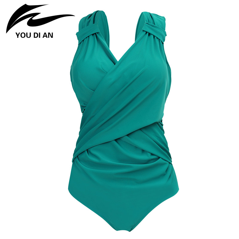 2017 Sexy V Neck Swimwear Women Plus Size One Piece Swimsuit Swimming Suit Swim Vintage Summer Beachwear Women Bathing Suit sweet one piece skirt swim wear cover belly slim bathing suit padded swimsuit swimwear vintage high neck beachwear plus size 2xl