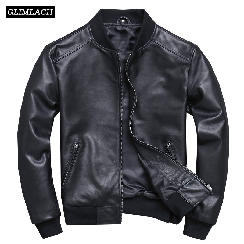 Veste Jacket Coats Sheepskin Aviation Real-Leather Slim 5XL Cuir Black Pilot Homme Large-Size