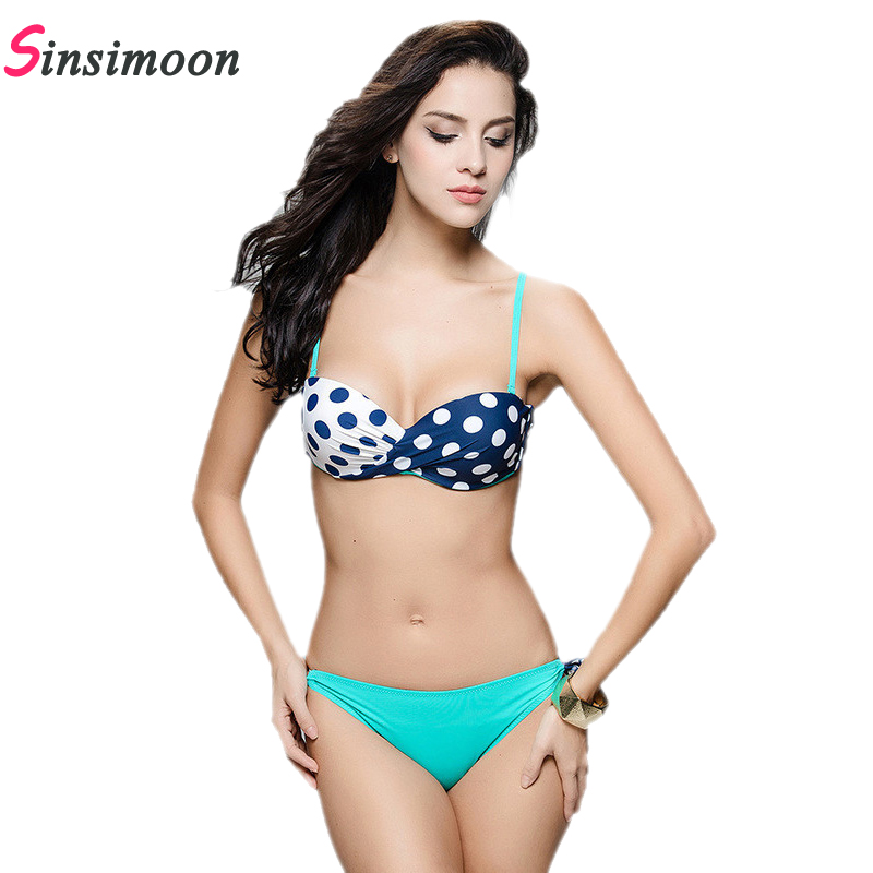 7c618420c 2017 New Sexy Bikini Sets patchwork Push Up Swimsuit Bathing Suit polka Dot  Trendy Women Swimwear Biquini Maillot De Bain LB5063