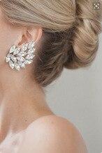 Gold silver Crystal Leaf Earrings Clip Design Crystal Flower Leaves Earrings Jackets for Women Punk Earrings Jewelry 5175