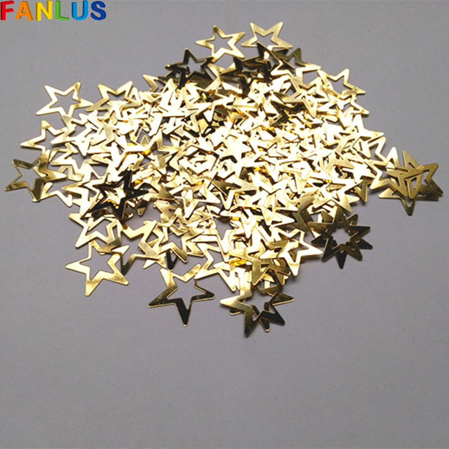 1000pcs/bag Gold Metallic Hollow Stars Confettis For Wedding Party Decoration diy Birthday Accessories Holiday Decor PVC Supplie