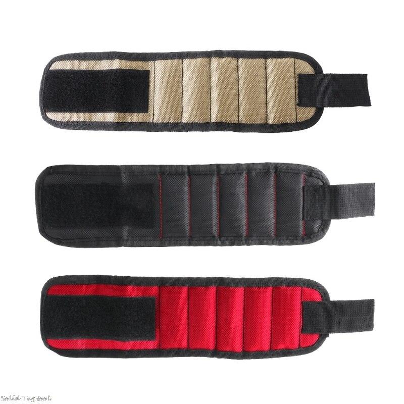Magnetic Wrist Hand Tool Bag Pocket Holding Screws Nails Drill Bits Magnet Bracelet Band