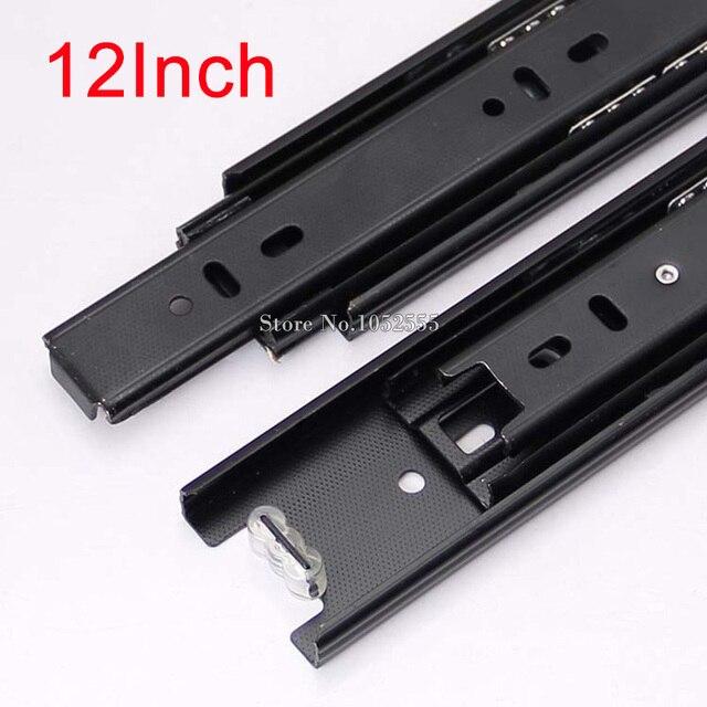 High Quality Portable 3 Fold Telescopic Fully Extension 300mm Drawer Runner Slides Rail Heavy Duty Furniture Hardware K178/3