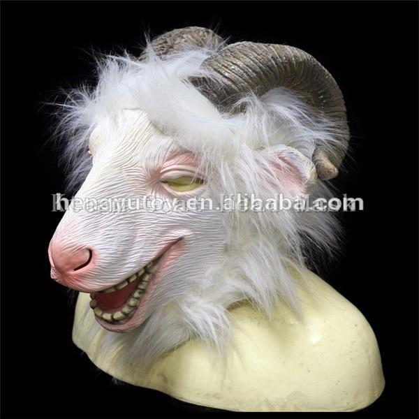 Top qualité 100% Latex 1 PC nouveau Latex tête de chèvre masque Animal ZOO Cosplay mouton Halloween mascarade fête Anima masque Costume Prop - 3
