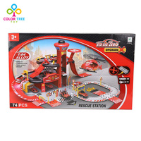 74 Pcs Fire Department Station Aircraft Park With Car Toys For Children