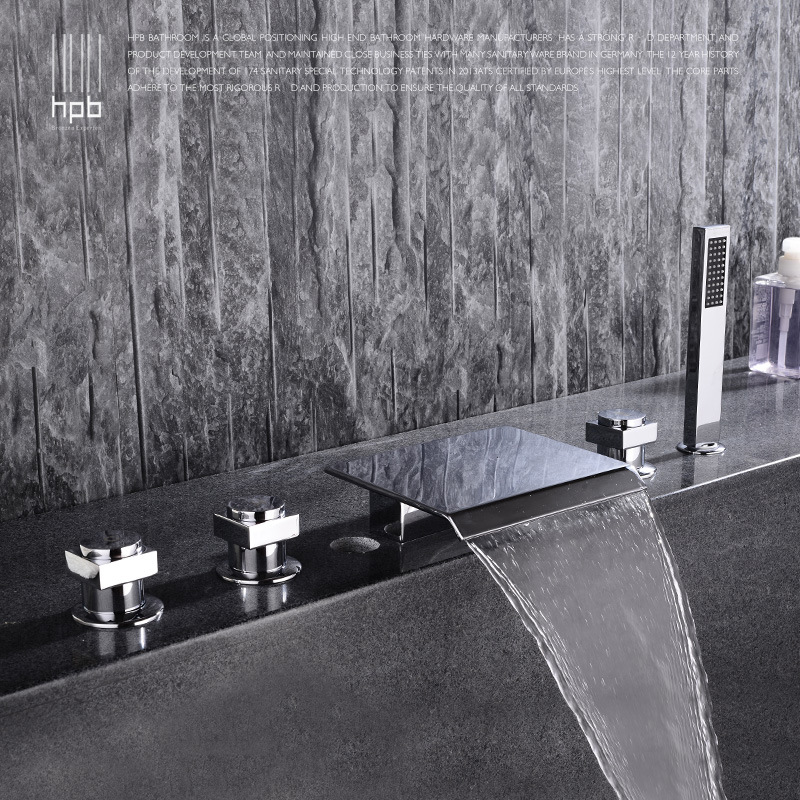 full copper waterfall type sitting cylinder side bathtub faucet, five piece split bathtub, side type floor faucet split side tee