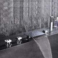 full copper waterfall type sitting cylinder side bathtub faucet, five piece split bathtub, side type floor faucet