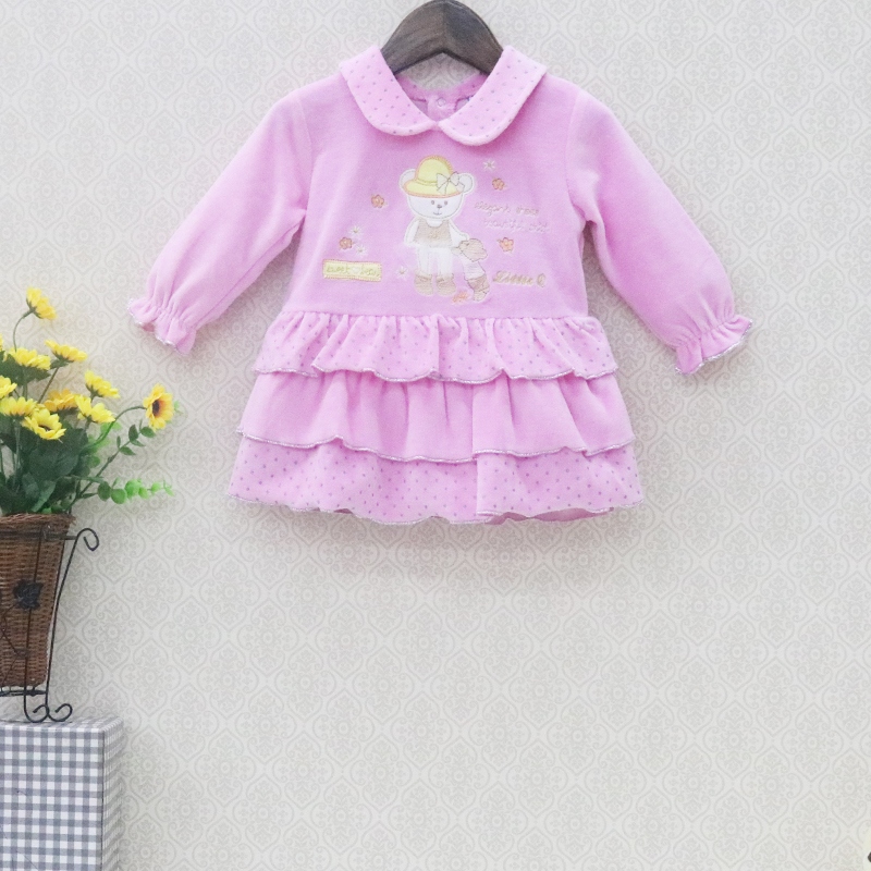 2018 Little Q Velour Baby dress Girls Party Lovely Dresses Long Sleeve Autumn And Spring Children Peter pan Collar Clothes