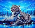 White Tiger DIY Diamond Paintings Flower Resin Needlework Home Decoration Rhinestone Mosaic Diamond Embroidery Picture