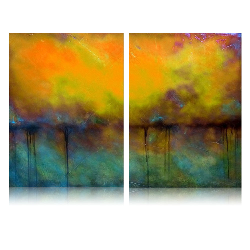 IARTS 2 pcs Handpainted Canvas Art Abstract Landscape Modernism ...