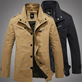 Spring and Autumn Regular length men jacket Turn-down Collar Single Breasted Solid cotton coats