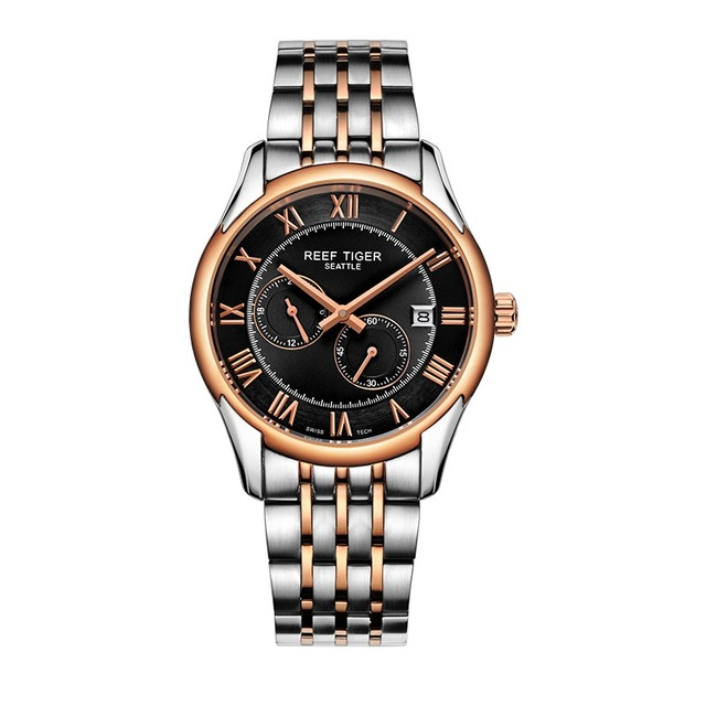 Reef Tiger Settle Serier RGA165 Men Business Fashion Ultra Thin Waterproof Automatic Mechanical Wrsit Watch With Dual Small Dial