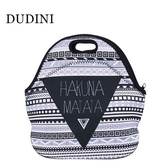 DUDINI Hand-Held Portable Lunch Bag Polyester Material Insulation Bag For Lunch Fashion Irregular Pattern Small Picnic Bag