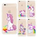 Para apple iphone 4 4s 5 5s se 5c 6 6 s 7 Plus 6 SPlus Hipopótamo Lindo Arco Iris Unicornio Caballo Clear Case Cubierta de Plástico