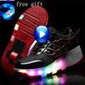 Crianças shoes com rodas roller skate shoes para crianças light up shoes de rodinha meninos meninas sneakers luminosas tamanho 27-43