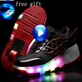 Kids Shoes With Wheels Roller Skate Shoes For Kids Light Up Shoes De Rodinha Girls Boys luminous Sneakers Size 27-43