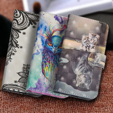 Luxury Painting Flip Phone Case For Xiaomi Mi 8 Lite A1 A2 PU Leather Silicon Wallet Cover sFor Redmi 7 Note 7 5 Pro Case Coque(China)