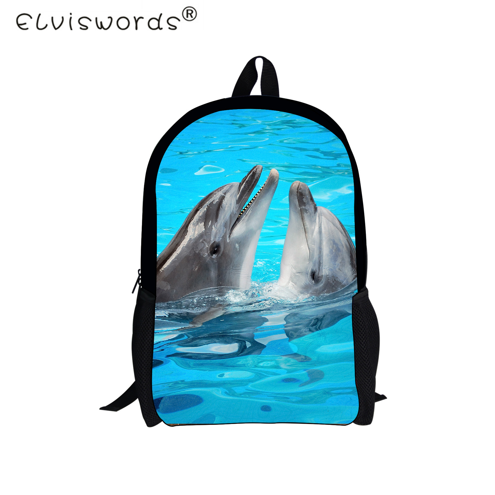 ELVISWORDS Animal Dolphin Printing Schoolbags For Teenage Girls Shark Pattern Children Schoolbags Kids Women Travel Mochila Bags