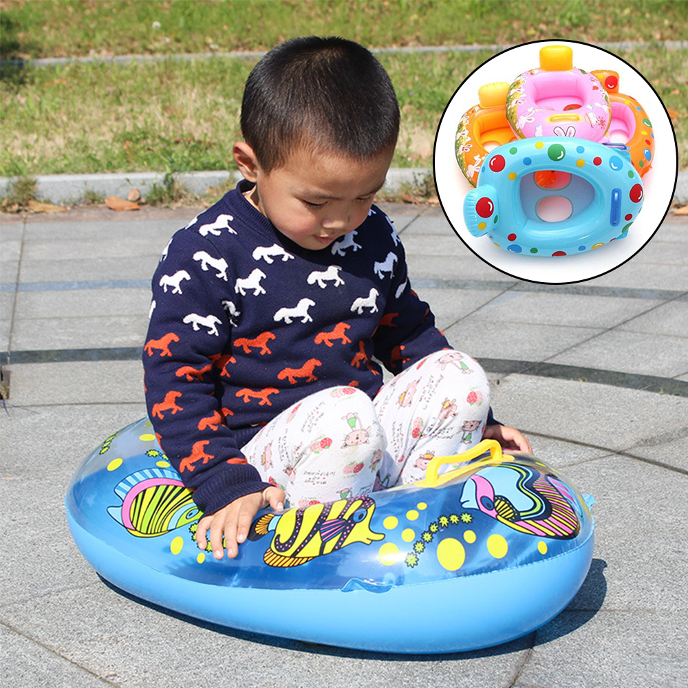 Summer Baby Swimming Pool Accessories Carton Inflatable Rings Baby Inflatable Boat Children Swimming Circles Child Water Toy