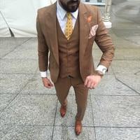 Latest Designs Brown Wedding Suits For Men Slim Fit Men Suit Groomsman Suits Prom Party Business Suit (jacket+pant+vest)