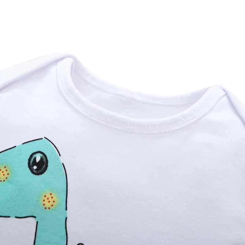 Traje de dinosaurio de dibujos animados de bebé 2018 ropa de niño niña de manga larga con estampado de Animal cuello redondo otoño primavera mono 0-18 M