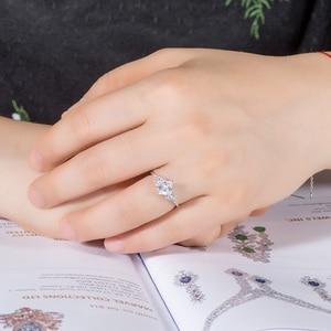 Image 5 - خواتم مويسانيت من Kuololit 14K 585 باللون الذهبي الأبيض للنساء معمل قطع مربعة رائعة من الألماس للخطوبة مجوهرات راقية