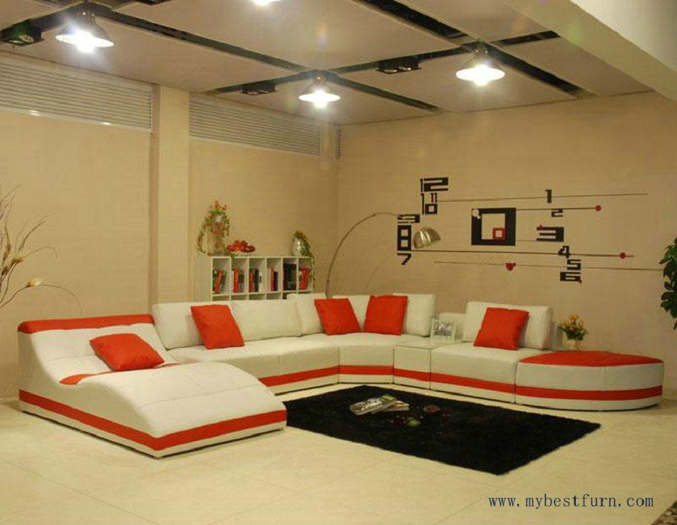 Sectional Sofa Fashion Furniture Orange Leather Chaise