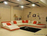 Sectional Sofa Fashion Furniture orange leather sofa, chaise lounge and ottoman, comfortable settee set Hot sale furniture sofas
