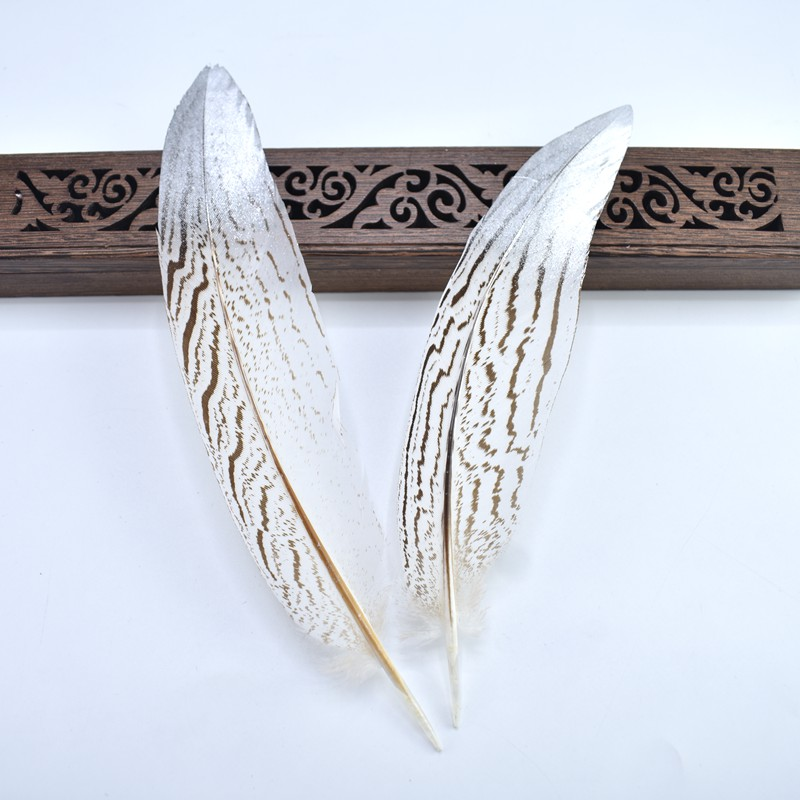10Pcs Lot Dipped Gold Silver Pheasant Tail Feathers for crafts 15 25CM DIY natural feathers for jewelry making Party Decorations in Feather from Home Garden