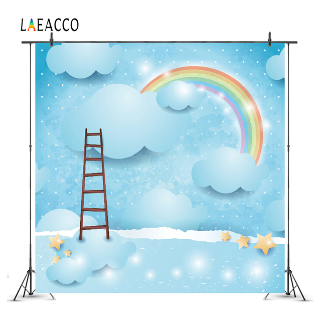 Laeacco Rainbow Birthday Party Ladder Shiny Star Cloud Baby Cartoon Portrait Photographic Background Photo Backdrop Photo Studio