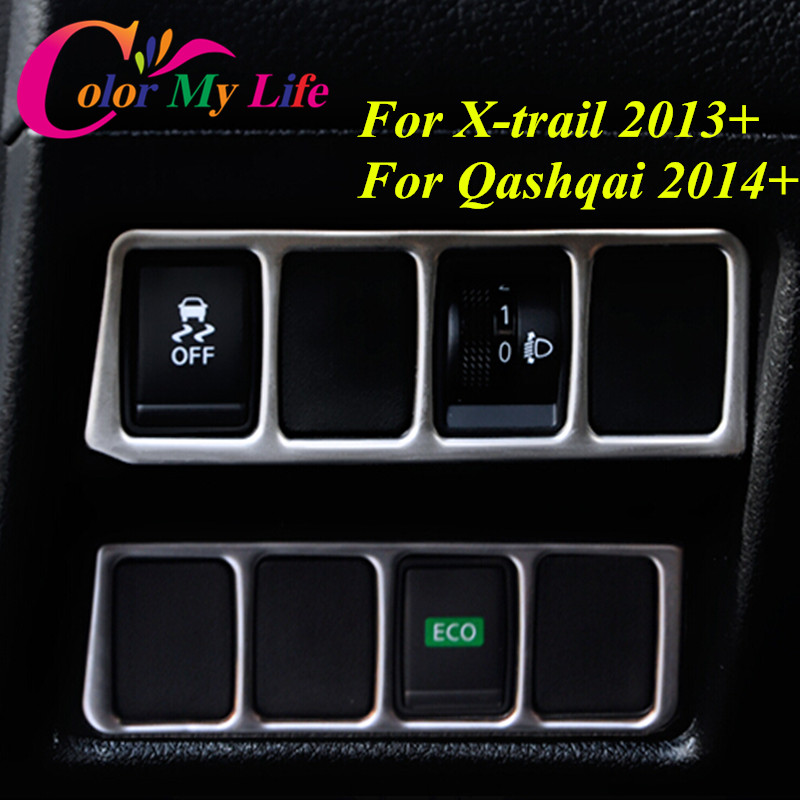 2Pcs/Set Stainless Steel Headlight Switch Control Panel Trim Sticker for Nissan X-TRAIL Xtrail T32 2013+ Qashqai J11 2014+ LHD