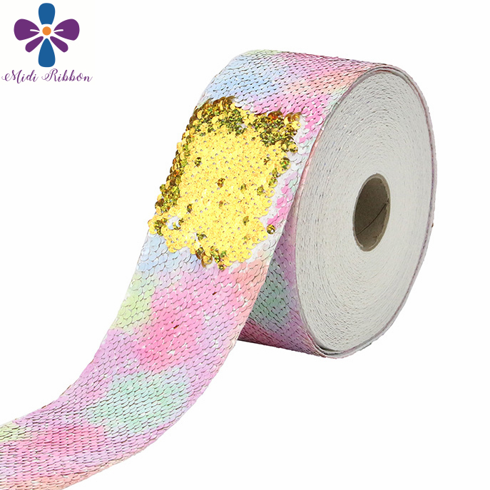"""3 """"75mm Arco Iris olas rayas Rosa Galaxy impreso Reversible doble holograma de lentejuelas oro cinta pelo bricolaje Bowknots 46 yardas-in Cintas from Hogar y Mascotas    3"""