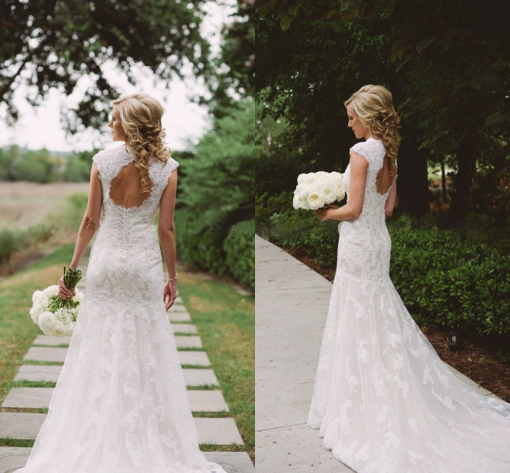 Keyhole Wedding Gowns: Online Buy Wholesale Lace Wedding Dresses With Keyhole