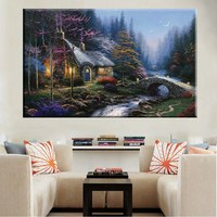Beautiful Night Scene Thomas Kinkade Reproduction Prints Canvas Night Cottage by River Landscape Painting Bedroom Decor Wall Art