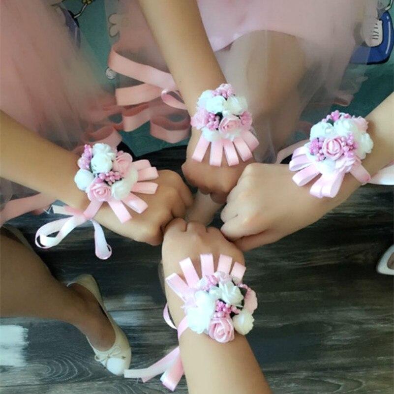 Artificial Brides Bridesmaid Wrist Flower Christmas Wedding Decoration Mariage Rose Wrist Corsages Hand Flower Silk Lace
