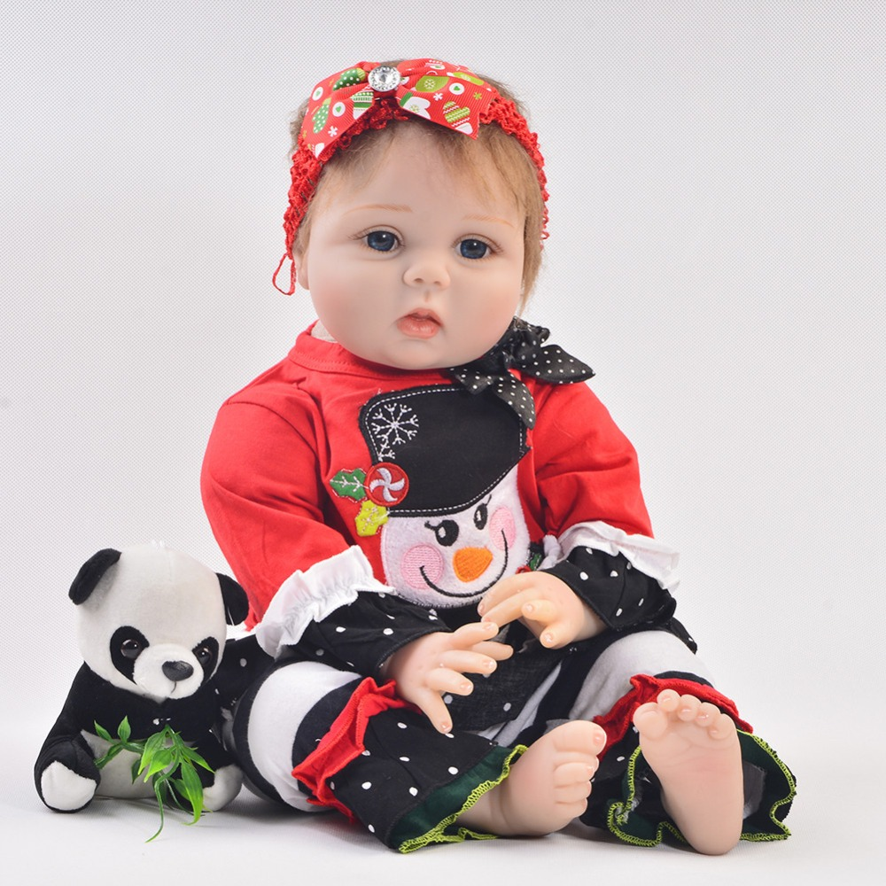 Christmas Series 22 Inch Silicone Reborn Babies Dolls So Truly New Born Baby Doll Stuffed PP