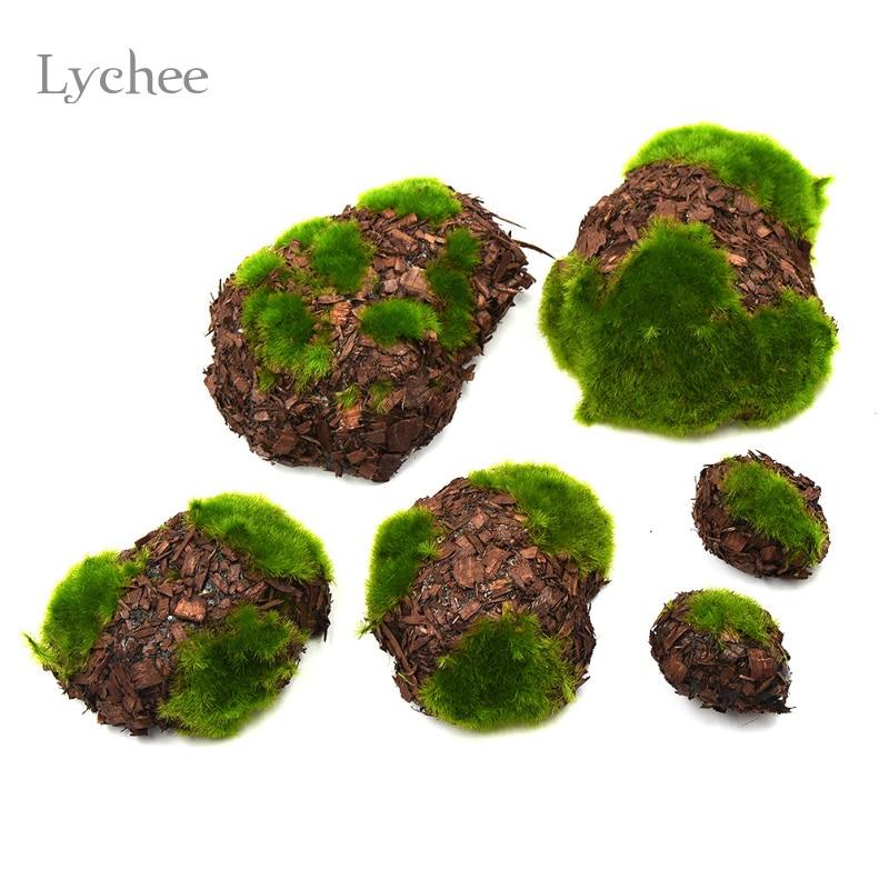 online shop lychee 6pcsset wood chip green foam moss stone fake rock artificial flower pots christmas wedding home garden decoration aliexpress mobile