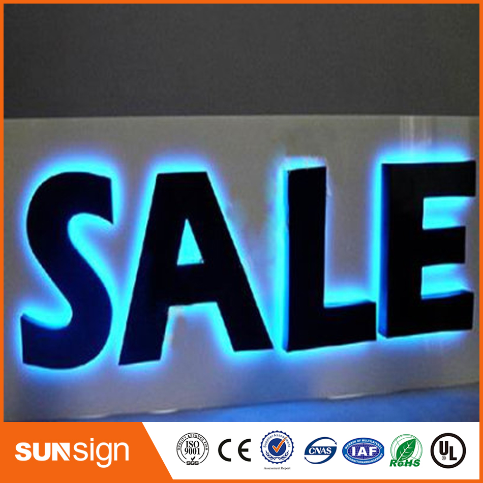 Custom Halo Lit Illuminated Acrylic Led Metal Sign