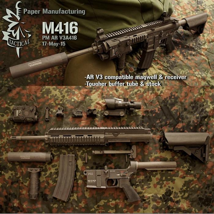 HK416 3D Puzzle Paper model gun M416 submachine gun 1:1 scale detachable hand-made paper model internal structure