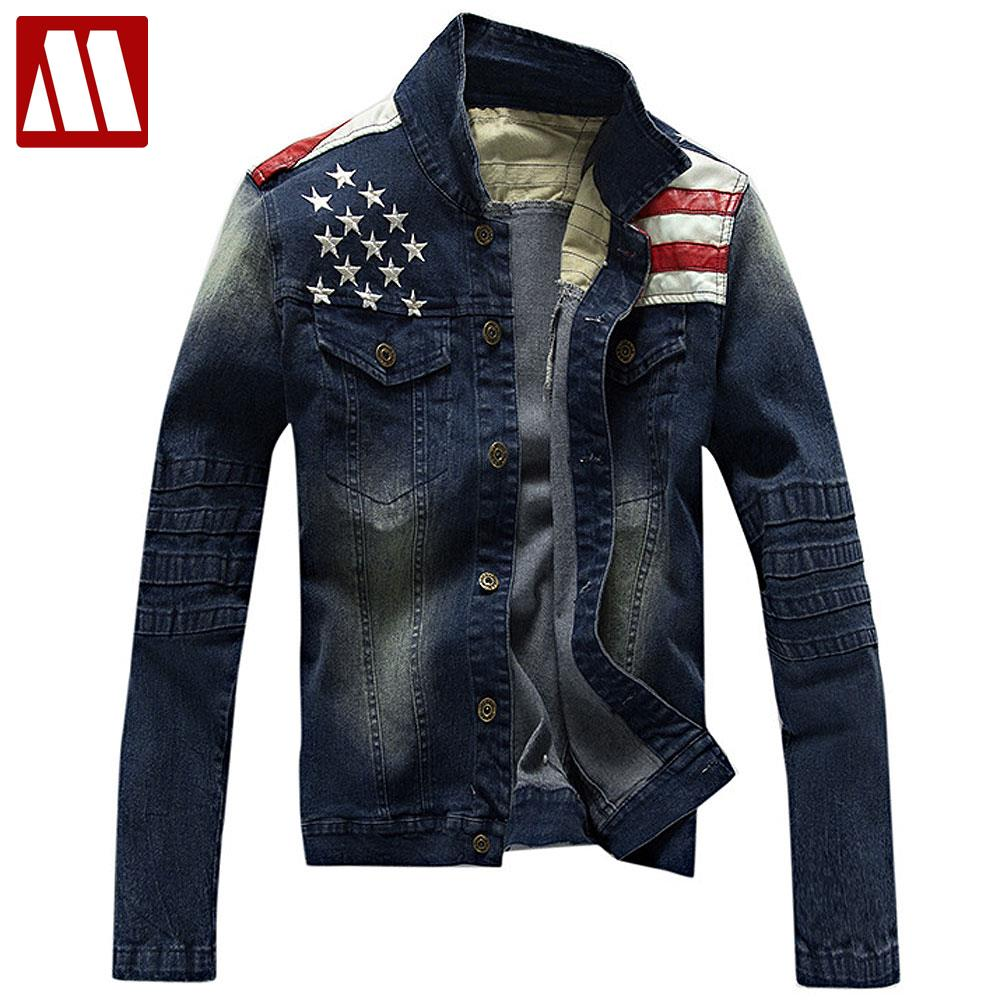 f7b0f3b5c US $58.88 |The Star Spangled Banner mens denim jacket washed cotton casual  mens Motorcycle jackets and coats slim fit men clothing S XXXL-in Jackets  ...