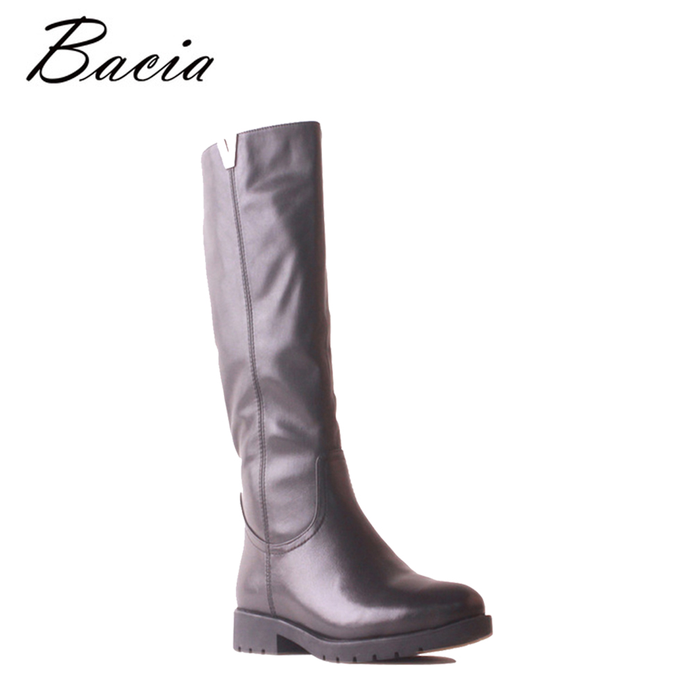 Bacia High Quality Shoes Brand Winter Low Heel Soft Genuine Leather Long Boots High Knee Wool Fur Warm Women Snow Shoes SB124