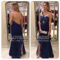 2017 New Evening Gown Sexy Vestidos De Fiesta Sweetheart Neck One Shoulder Royal Blue Mermaid Long Celebrity Dress DYQ523