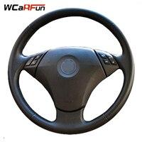 WCaRFun Black Genuine Leather Car Steering Wheel Cover for BMW E60 E61 520i 520li 523 523 523li 525 525i 530 530i 535 545i